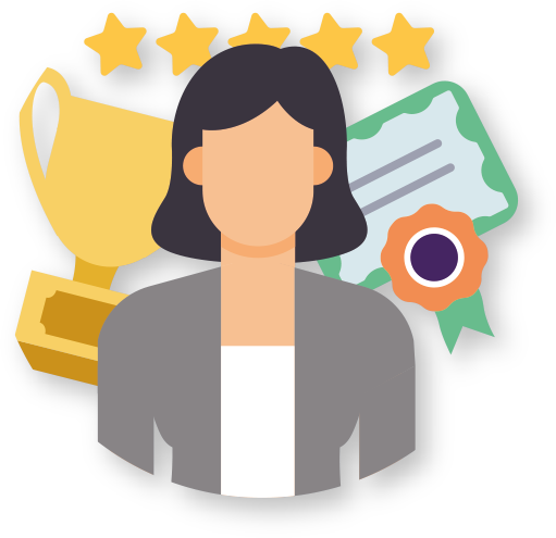 Icon showing a person, and behind a trophy, a certificate and 5 stars